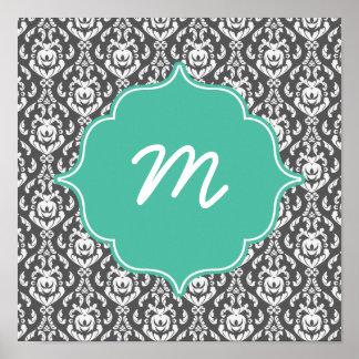 Mint Monogram Dark Grey Damask Poster