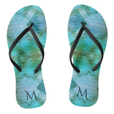 Beach Themed Mint Monogram Geometric Beach Pattern Flip Flops