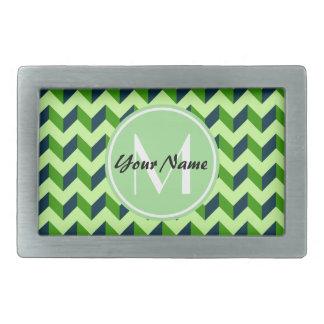 Mint Monogram Green Chevron Patchwork Pattern Belt Buckle