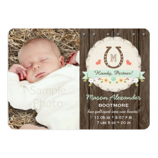 Mint Monogram Horseshoe Western Birth Announcement