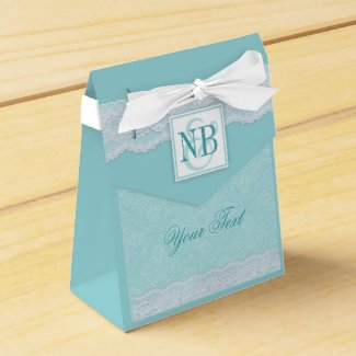Mint monogram personalized tent gift boxes party favor boxes