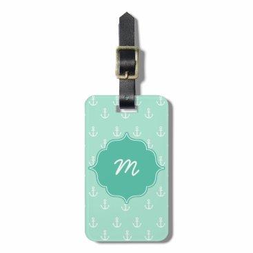 Mint Monogram Tiny Anchors Quatrefoil Bag Tag