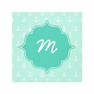 Mint Monogram Tiny Anchors Quatrefoil Canvas Print