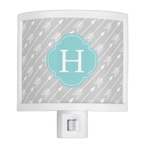 Mint Monogrammed Arrows Pattern Night Light