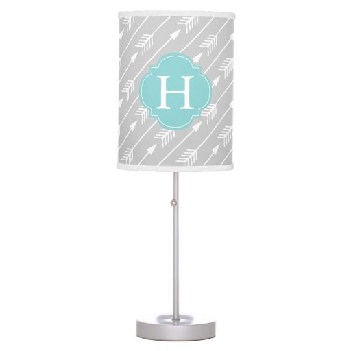 Mint Monogrammed Arrows Pattern Table Lamp