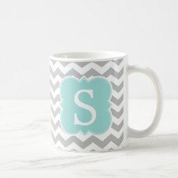 Mint Monogrammed Gray Chevron Stripes Coffee Mug