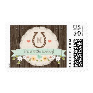 Mint Monogrammed Horseshoe Baby Postage