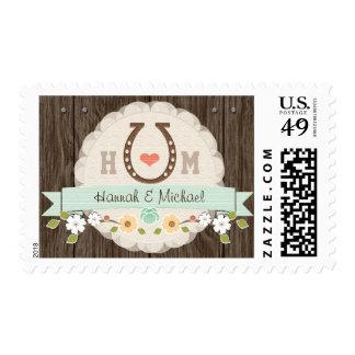 Mint Monogrammed Horseshoe Wedding Stamp