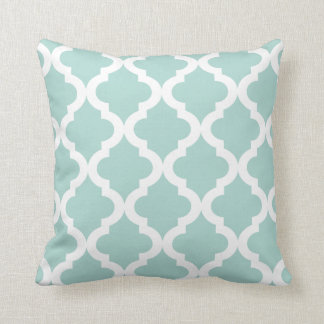 Mint Moroccan Quatrefoil Print Pillows
