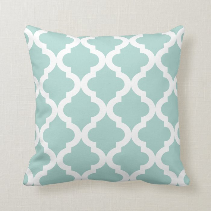 Throw Pillows Malum : Mint Moroccan Quatrefoil Print Throw Pillow Zazzle