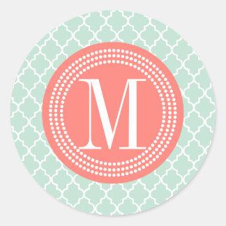 Mint Moroccan Tiles Lattice Personalized Stickers