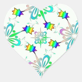 Mint Multi Color Design Template Heart Sticker