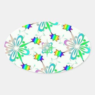 Mint Multi Color Design Template Oval Sticker