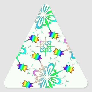 Mint Multi Color Design Template Triangle Sticker