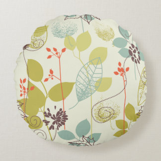 Mint n Olive Nature Patterned Round Pillow