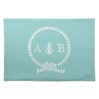 Mint Nautical Rope and Anchor Monogram Placemat