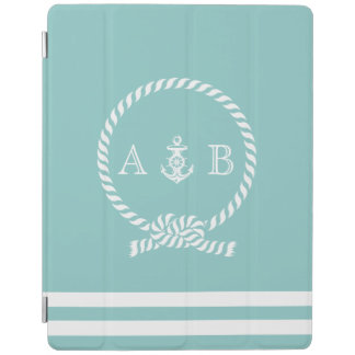 Mint Nautical Rope and Anchor Monogrammed iPad Smart Cover