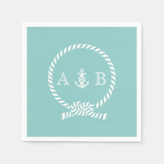 Mint Nautical Rope and Anchor Monogrammed Paper Napkin