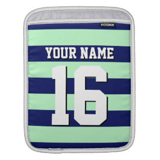 Mint Navy Blue Team Jersey Number Name iPad Sleeve
