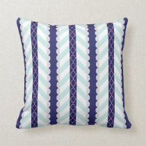Mint, Navy Blue, White Geometric Striped Pattern Throw Pillow