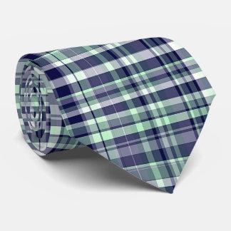 Mint, Navy Blue, White Preppy Madras Plaid Neck Tie