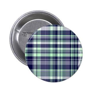 Mint, Navy Blue, White Preppy Madras Plaid Pinback Button