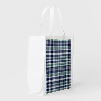 Mint, Navy Blue, White Preppy Madras Plaid Reusable Grocery Bag