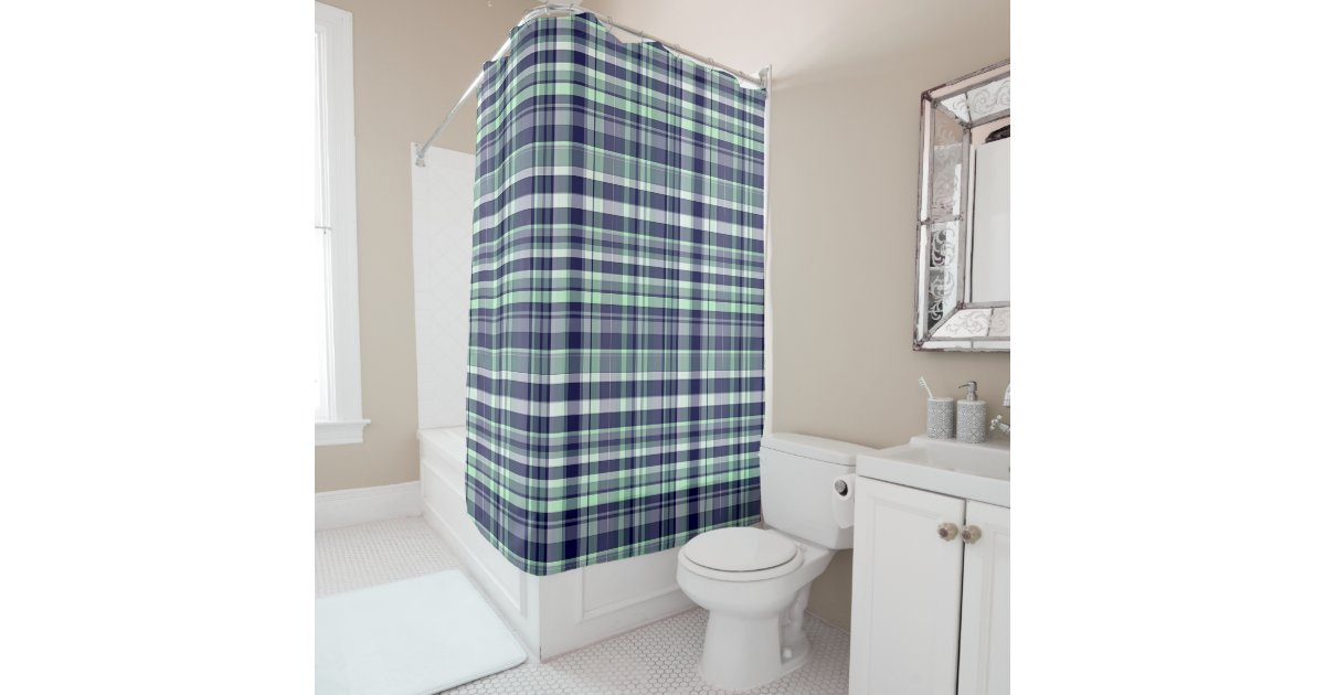 Mint Navy Blue White Preppy Madras Plaid Shower Curtain Zazzle