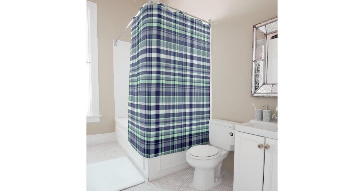 Mint  Navy Blue  White Preppy Madras Plaid Shower Curtain   Zazzle. Navy Blue And White Shower Curtain. Home Design Ideas