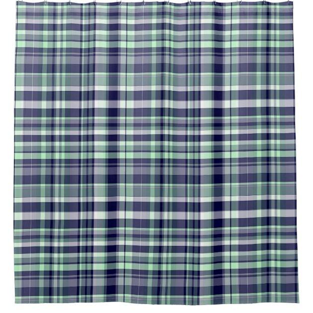 Mint Navy Blue White Preppy Madras Plaid Shower Curtain Zazzle