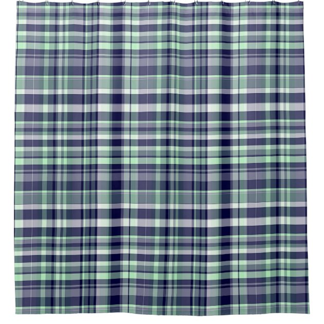 Mint, Navy Blue, White Preppy Madras Plaid Shower Curtain | Zazzle.com