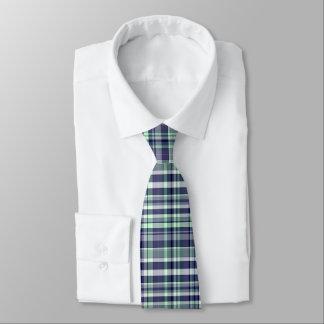 Mint, Navy Blue, White Preppy Madras Plaid Tie