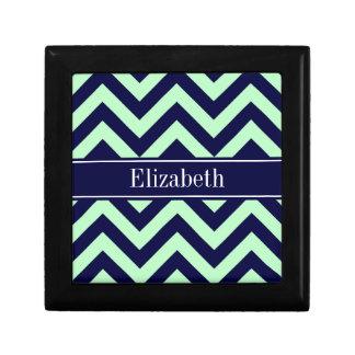 Mint Navy LG Chevron Navy Blue Name Monogram Gift Box