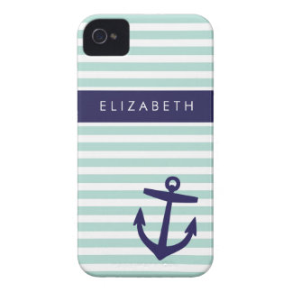 Mint & Navy Nautical Stripes Cute Anchor Monogram iPhone 4 Case-Mate Case