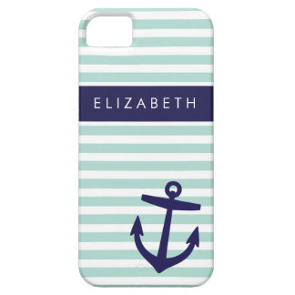 Mint & Navy Nautical Stripes Cute Anchor Monogram iPhone SE/5/5s Case