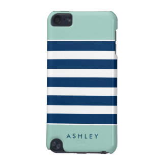 Mint Navy White Stripes Pattern Modern Stylish iPod Touch (5th Generation) Cases