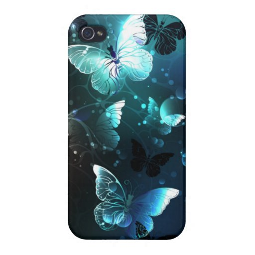 Mint Night Butterflies Case For iPhone 4