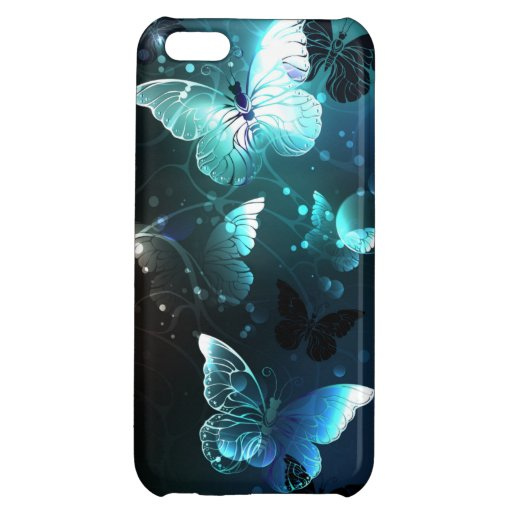 Mint Night Butterflies Case For iPhone 5C