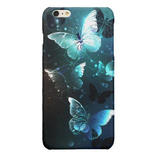Mint Night Butterflies Glossy iPhone 6 Plus Case