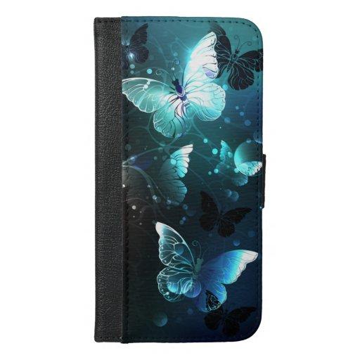 Mint Night Butterflies iPhone 6/6s Plus Wallet Case