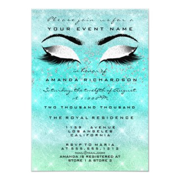 Bride Themed Mint Ocean Makeup White Glitter 16th Bridal Shower Card