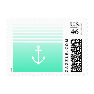 Mint Ombre Nautical Postage Stamp