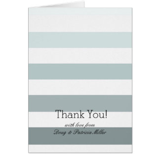 Mint Ombre Stripes Thank You Stationery Note Card