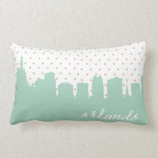 mint Orlando, FL polka dot Lumbar Pillow