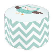 Mint Owl and Chevrons Pattern Pouf