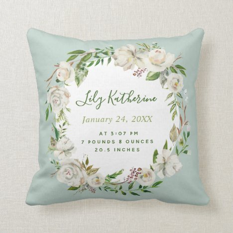 Mint Painted Floral Baby Girl Birth Stats Throw Pillow