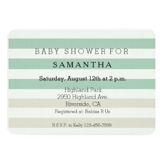 Mint Pale Cream Stripes baby shower Card