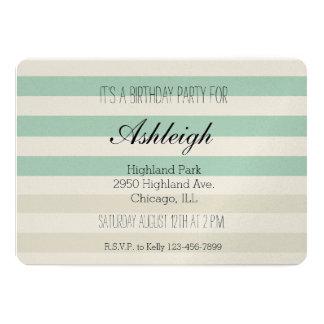 Mint Pale Cream Stripes birthday Card