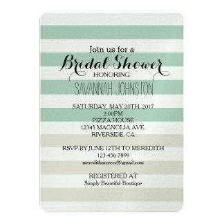 Mint Pale Cream Stripes bridal shower Card