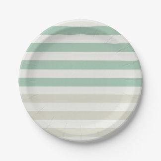 Mint Pale Cream Stripes Paper Plate